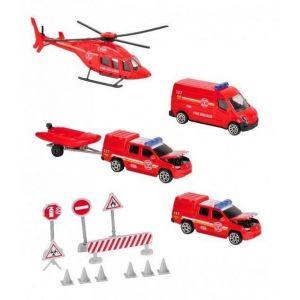 Smoby Sos Playset Pompier - 3 véhicules + 1 hélicoptère + Accessoires de jeu