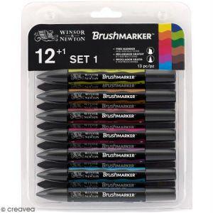 Winsor & Newton Set de 12 feutres pinceau Brushmarker - tons vibrants