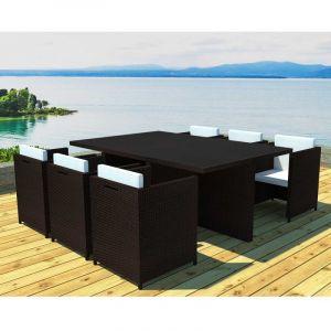 Salon de jardin 6 fauteuils encastrable Résine chocolat Iraklio