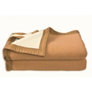 Poyet motte Couverture Aubisque en laine woolmark 180x220 cm biche et naturelle