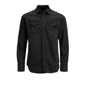 Jack & Jones Jjesheridan Shirt L/s Chemise en Jean, Noir (Black Denim Fit:Slim), Large Homme