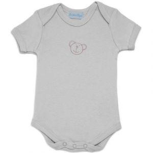 Les bébés d'Elyséa Body brodé manches courtes gris (6 mois : 67 cm)
