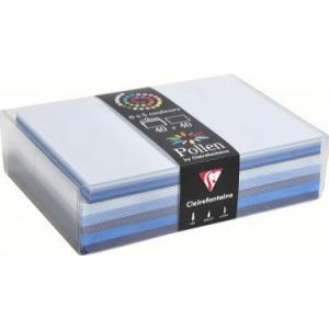 Clairefontaine 20862C - Coffret de 40 enveloppes 114x162 + 40 cartes 110x155 (5 couleurs de Bleu)