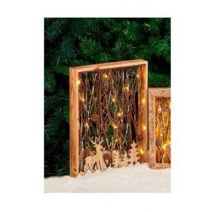 Cadre en bois avec décor lumineux H 40 cm