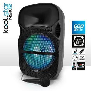 Koolstar Enceinte Sono Karaoké à LEDs RVB 12/31cm 600W - USB/BT/SD + Microphone NSX12