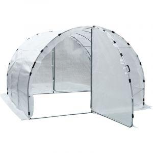Outsunny Serre de Jardin Tunnel Surface Sol 9 m² 3L x 3l x 2H m châssis Tubulaire renforcé 25 mm Double Porte avec poignées Blanc