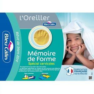Bleu Câlin Oreiller ergonomique spécial cervicales 35x50x11 cm, à mémoire de forme, confortable, détente totale de la nuque, soulagement des douleurs, enveloppe déhoussable