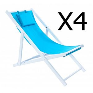 Pegane Lot de 4 chiliennes en bois coloris Bleu - Dim : L 57 x P 105 x H 97 cm