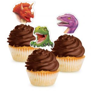 12 pics deco cupcakes dinosaure