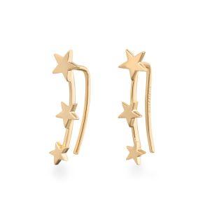 Rosefield Boucles d'oreilles JTSSG-J061 - Collection IGGY Puces Triple Etoiles doré jaune Laiton