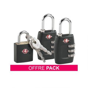 Pack 2 cadenas TSA à code + 1 cadenas TSA à clés offert
