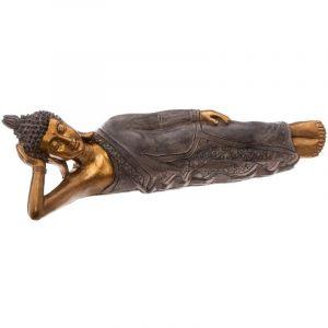 """Atmosphera Statue en Résine """"Bouddha Allongé"""" 42cm Or"""