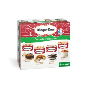 Häagen-dazs Minipots de glace, Favorite Selection : Vanilla Caramel Browni e, Macadamia Nut Brittle, Cookies & Cream et Dulce de Leche - La boîte de 4 pots, 340g