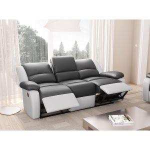Loungitude Canapé 3 places relax microfibre gris et simili cuir blanc Relaxo