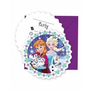 6 invitations et enveloppes La Reine des Neiges