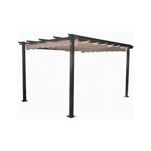 Pergola en aluminium avec toit coulissant écru 3x4 m