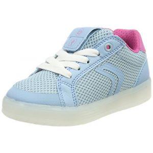 Geox J Kommodor A, Sneakers Basses Fille, Turquoise (Lt Sky/Fuchsia), 30 EU