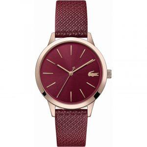 Lacoste Montre 2001092 - boitier acier plaqué ionique or rosé rond cadran bordeaux bracelet cuir bordeaux Femme