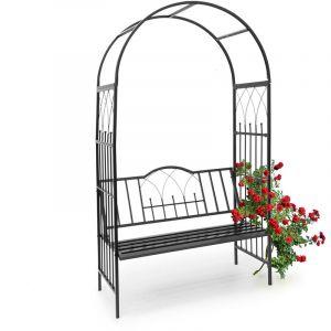 Relaxdays 10020032 Arche à rosiers avec banc colonne de jardin Arceau de plantes grimpantes obélisque pour roses avec assise pour 2 personnes-H x l x P: 203 x 114,5 x 59 cm- noir