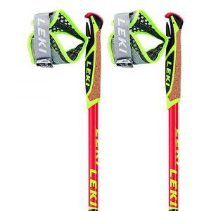 Leki Bâtons de randonnée Micro Trail Race - Neon Red / Dark Red / Grey / White / Neon Yellow - Taille 135 cm