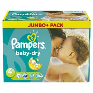 Pampers Baby Dry taille 4 Maxi (7-18 kg) - Jumbo Plus Pack 78 couches