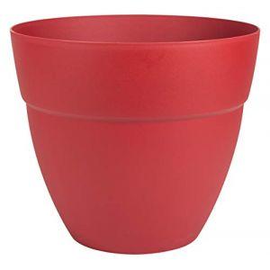 Eda Plastiques Pot de fleur rond Cancun Ø 40 x H.34,2 cm Rouge Rubis - Eda