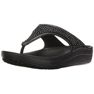 Crocs Sloane Embellished Flip, Sandales Plateau Femme, Noir (Black/Black 060), 34/35 EU