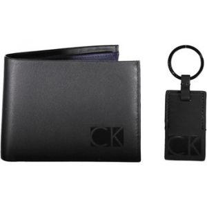 Calvin Klein Coffret Jeans Smooth : portefeuille italien 2 volets et porte-clé en cuir noir gravé