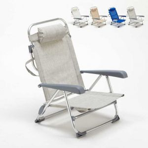 Beach and Garden Design Chaise transat de plage pliante avec accoudoirs mer aluminium GARGANO | Gris