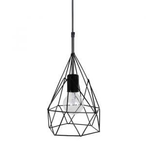 Tosel GIZEH Lustre - suspension filaire noire forme pyramide Ø20 cm E27 40W