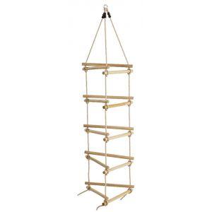 KBT Échelle de corde en bois et chanvre 3 côtés
