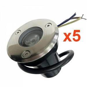 Silamp Spot Extérieur Encastrable LED IP65 220V Sol 3W 45° (Pack de 5) - Blanc Neutre 4000K - 5500K -