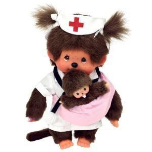 Monchhichi Infirmière kiki et son bébé 20 cm