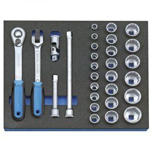 """Gedore Composition de clés à douilles 1/2"""""""" en module d'outils CT 2/4, 29 pièces - 2005 CT2-D 19"""