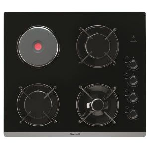 Brandt BPG6413BM - Table de cuisson mixte (gaz et électrique) 4 foyers
