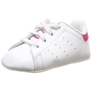 Adidas Stan Smith Crib, Chaussures Bébé Marche bébé fille, Blanc (FTWR White/FTWR White/Bold Pink), 21 EU (18-24 mois Bébé UK)