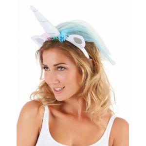 Serre tête licorne avec voile multicolore adulte Taille Unique