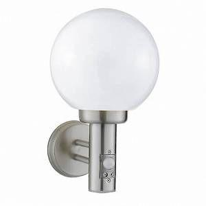 Image de Applique Globe avec détecteur, en acier inoxydable et polycarbonate