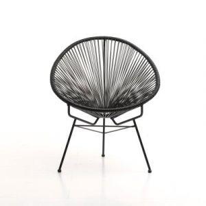 Fauteuil Acapulco chaise oeuf design rétro cordage noir