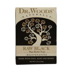 Dr. Woods Raw Black - Exfoliating Body Bar with Organic Shea Butter - 3 x 5.25 oz