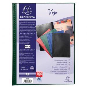 Exacompta Lot de 5 protège-documents PVC - 100 vues - vega opaque - A4 - Vert - 88523E