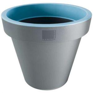 Provence Outillage Pot de fleurs rond Bleu / Gris Diamètre : 25 cm Hauteur : 22 cm - ECKEN KANTEN
