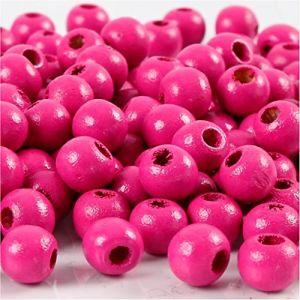 Perles en bois, d: 8 mm, rose, 15gr, env 100 pièce