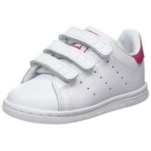 Adidas Stan Smith, Baskets Mixte Bébé, Blanc (Footwear White/Footwear White/Bold Pink), 22 EU