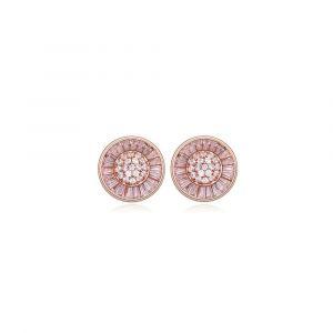 Blue Pearls Destockage Massif - Boucles Doreilles Cercle Plaqué Or Rose Et Cubic Zirconia Blanc Pdc C308