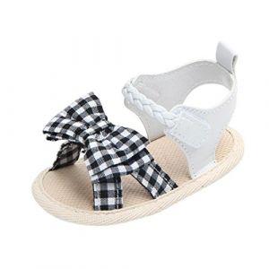 QinMM Sandales Bout Ouvert Chaussures de Bébé Plaid Nœud Papillon, Fille Doux Mode Anti- le Sweet Casual Sneakers Été Toddler Princesse Soirée Premiers Pas 0-18 Mois