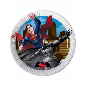 8 petites assiettes en carton Batman vs Superman (19.5 cm)