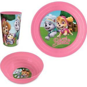 Set déjeuner plastique 3 pièces Pat' Patrouille rose