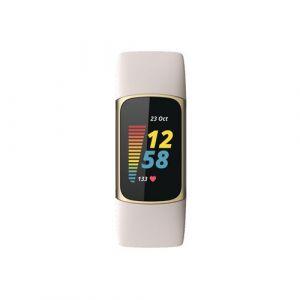 Fitbit Bracelet connecté Charge 5 Or pale Blanc lunaire
