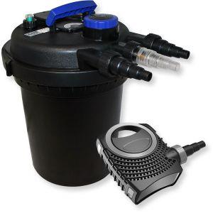 wiltec Kit de Filtration Bassin à Pression 10000l Stérilisateur Bassin UVC 11W 70W Pompe éco
